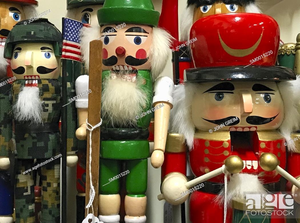 Stock Photo: Christmas Nutcracker figurines in a holiday shop.