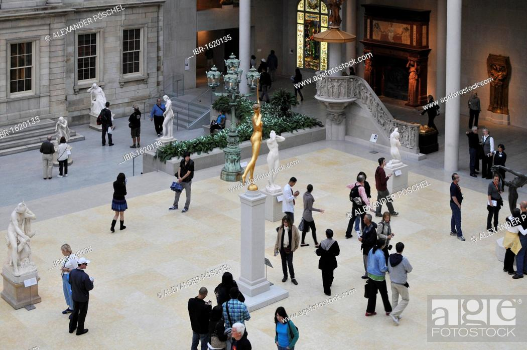 Stock Photo: Courtyard of the American Wing, The Metropolitan Museum of Art, Upper East Side, New York City, New York, USA, North America.