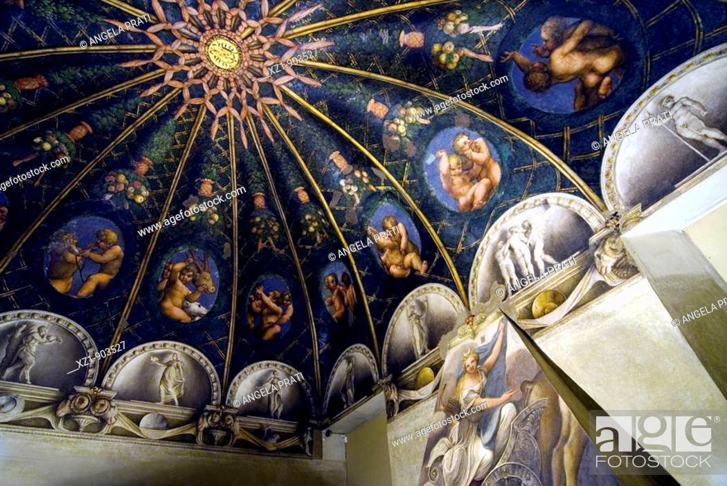 Stock Photo: Frescoes by Correggio in the Camera di San Paolo, Benedictine Monastery of San Paolo, Parma. Emlia-Romagna, Italy.