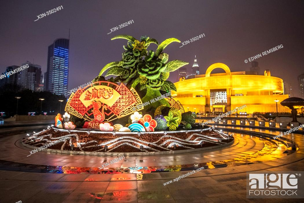 Stock Photo: Lunar New Years decoration for the year of the Rat outside the Shanghai Museum , Shanghai, China.