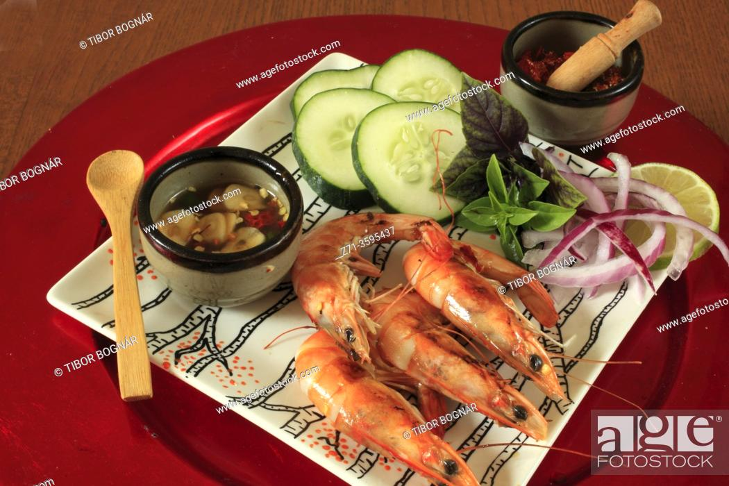 Stock Photo: Grilled prawns, side dishes, .