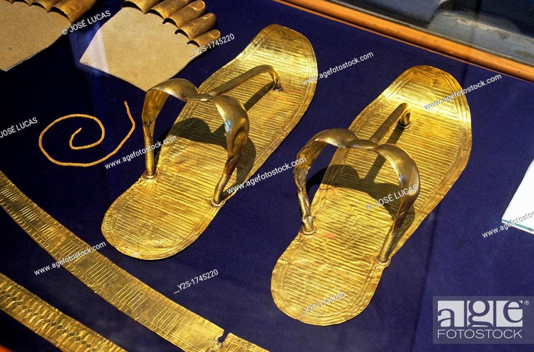 Stock Photo: Sandals, Tutankhamun's treasure, Museum of Egyptian Antiquities, Cairo, Egypt,.