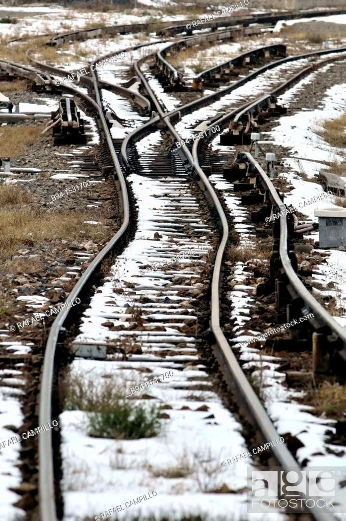 Stock Photo: Rairoad tracks with snow, Bourg-Madame, Languedoc-Roussillon, Pyrenees-Orientales, France.