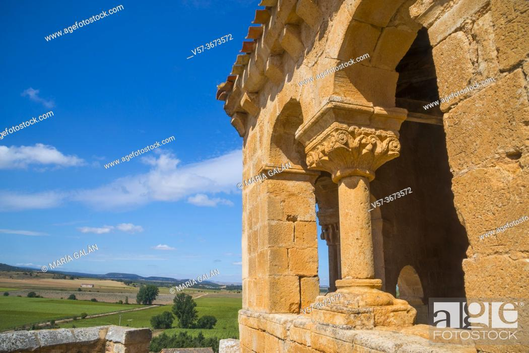 Stock Photo: Atrium and landscape. San Martin church, Aguilera, Soria province, Castilla Leon, Spain.