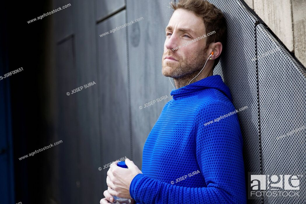 Photo de stock: Portrait of jogger with water bottle.
