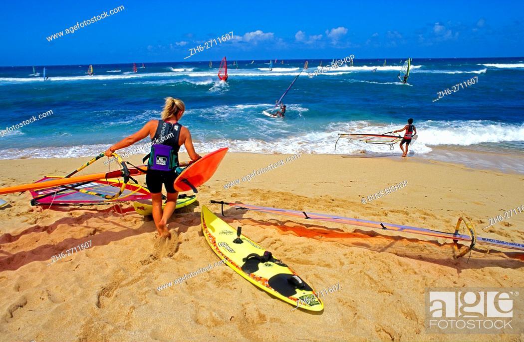 Stock Photo Windsurfing At Ho Okipa Beach Maui