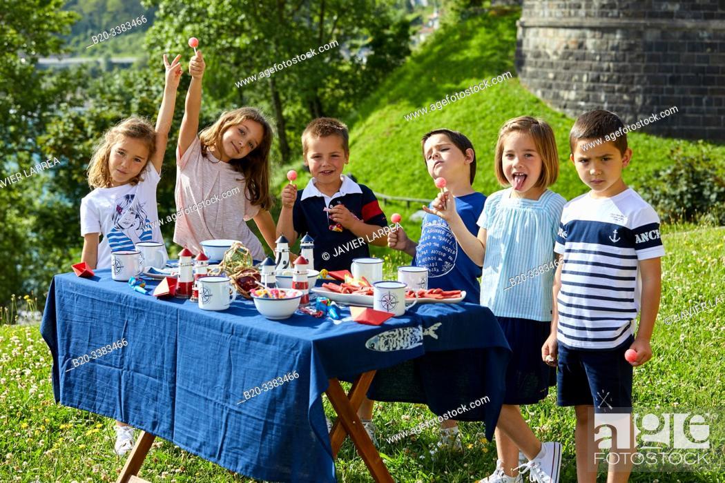 Stock Photo: Children at a party, Getaria, Gipuzkoa, Basque Country, Spain.
