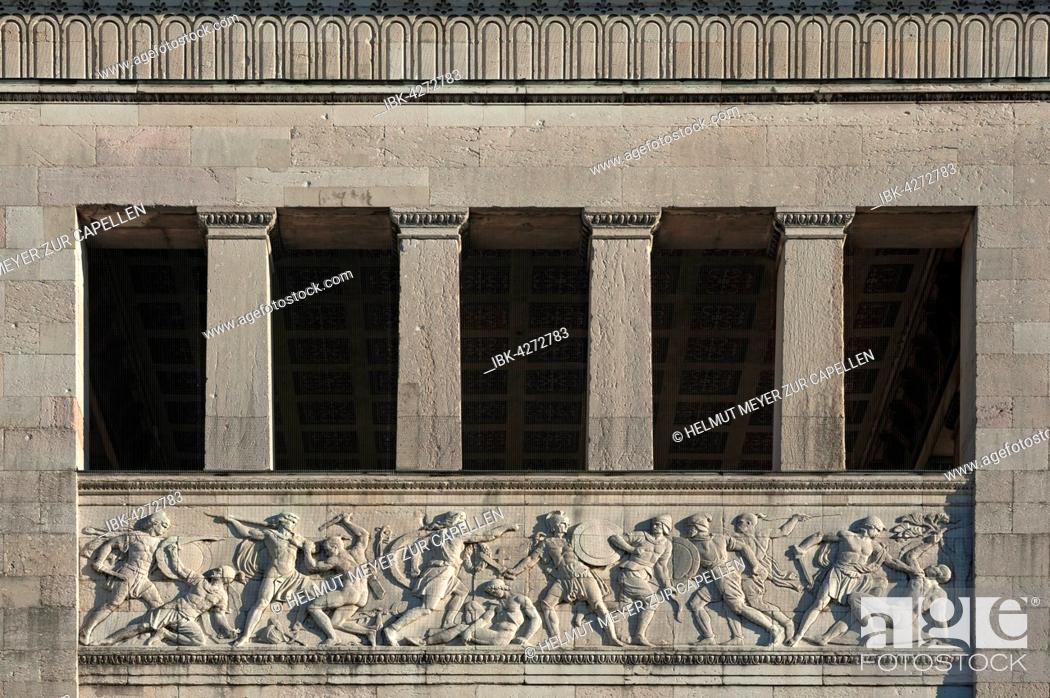 Stock Photo: Propylaea, relief, south tower, architect Leo von Klenze, Königsplatz, Munich, Bavaria, Upper Bavaria, Germany.
