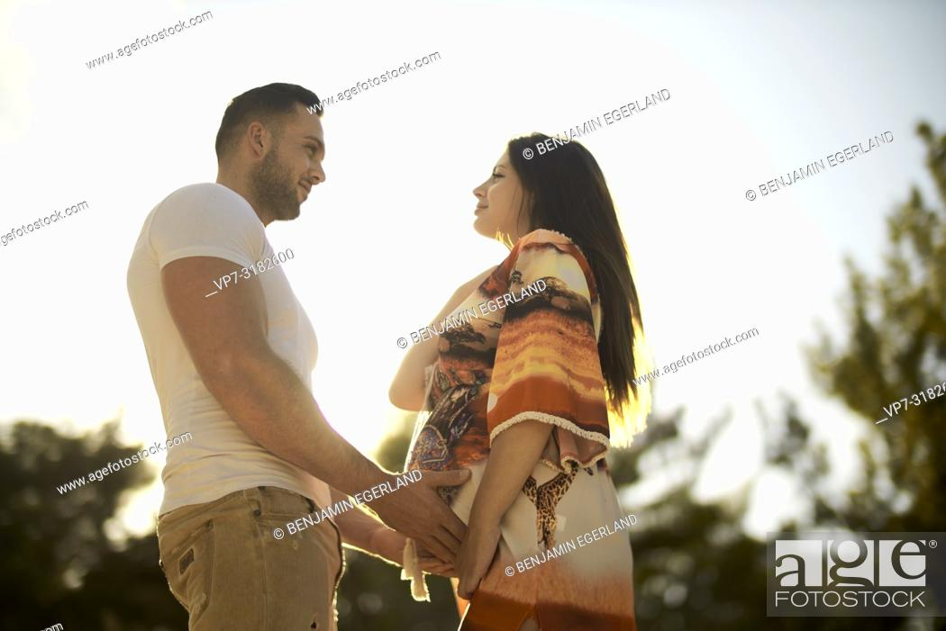 Young Couple Outdoors Romantic Pregnancy Stock Photo Picture And Rights Managed Image Pic Vp7 3182600 Agefotostock
