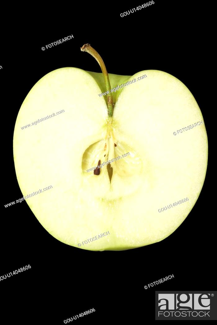 Stock Photo: Apple, sliced in half (close-up).