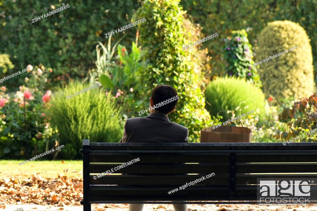 Stock Photo: France, Paris, man sitting on bench in park, rear view.