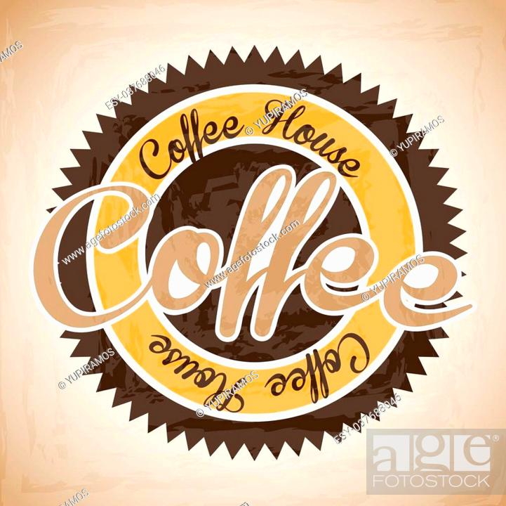 Stock Vector: coffee house label over vintage background vector illustration.