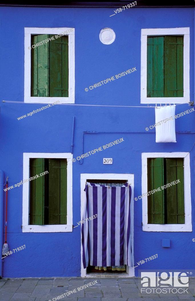 Stock Photo: Colourful fisherman's house. Burano. Venice lagoon. Italy.