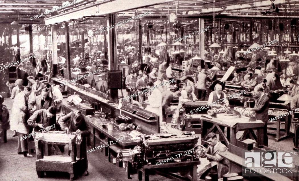 Stock Photo: Rolls Royce Factory aero-engine at Derby, England circa 1933.