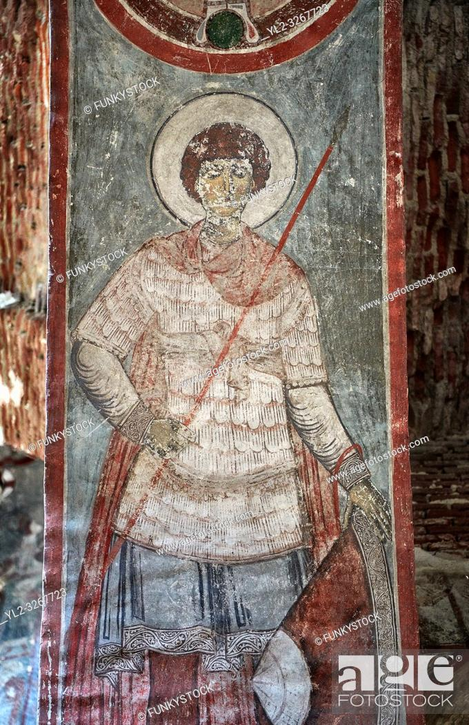 Stock Photo: Pictures & imagse of the interior frescoes of the Timotesubani medieval Orthodox monastery Church of the Holy Dormition (Assumption).