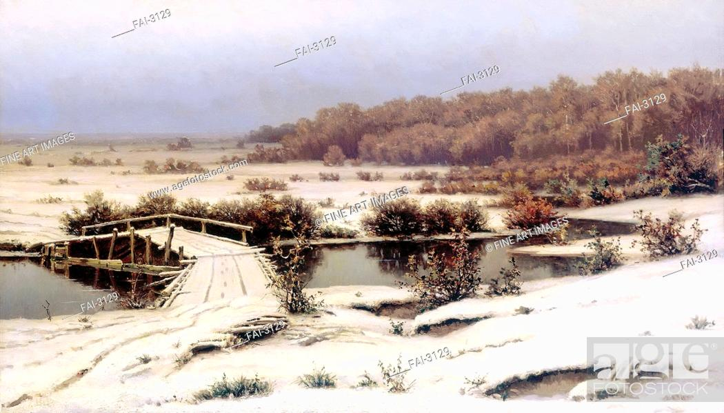 Stock Photo: Early snow. Volkov, Yefim Yefimovich (1844-1920). Oil on canvas. Russian Painting of 19th cen. . 1883. State Tretyakov Gallery, Moscow. 86x146.