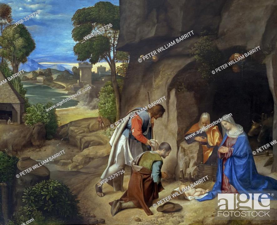 Stock Photo: The Adoration of the Shepherds, Giorgione, circa 1505-1510, National Gallery of Art, Washington DC, USA, North America.