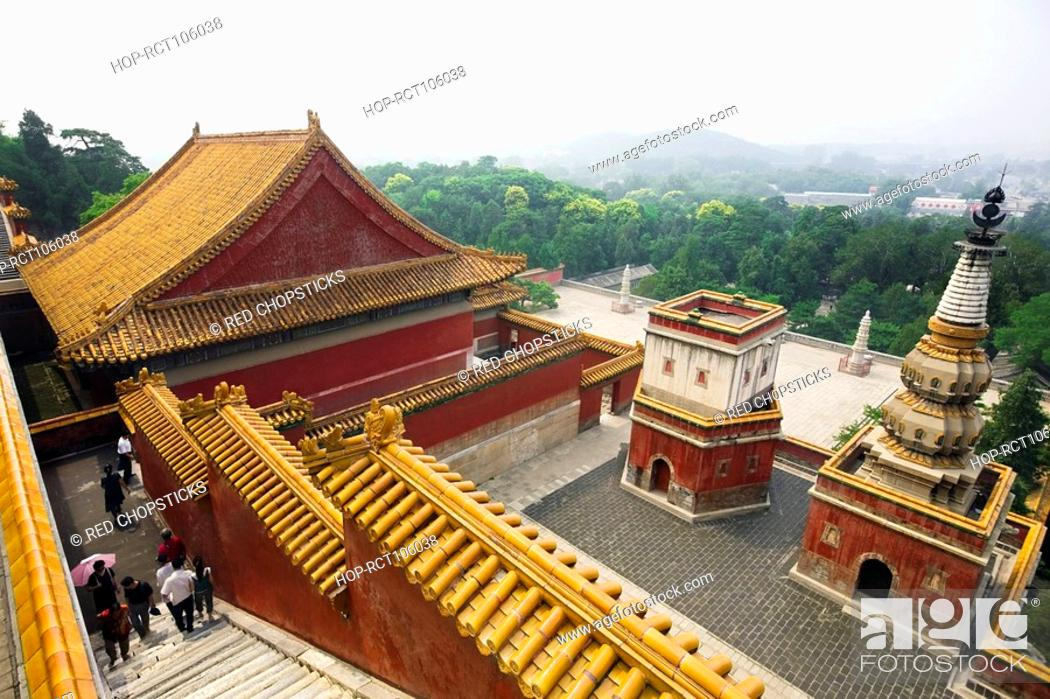 Stock Photo: High angle view of tourists in a palace, Four Great Regions, Summer Palace, Beijing, China.