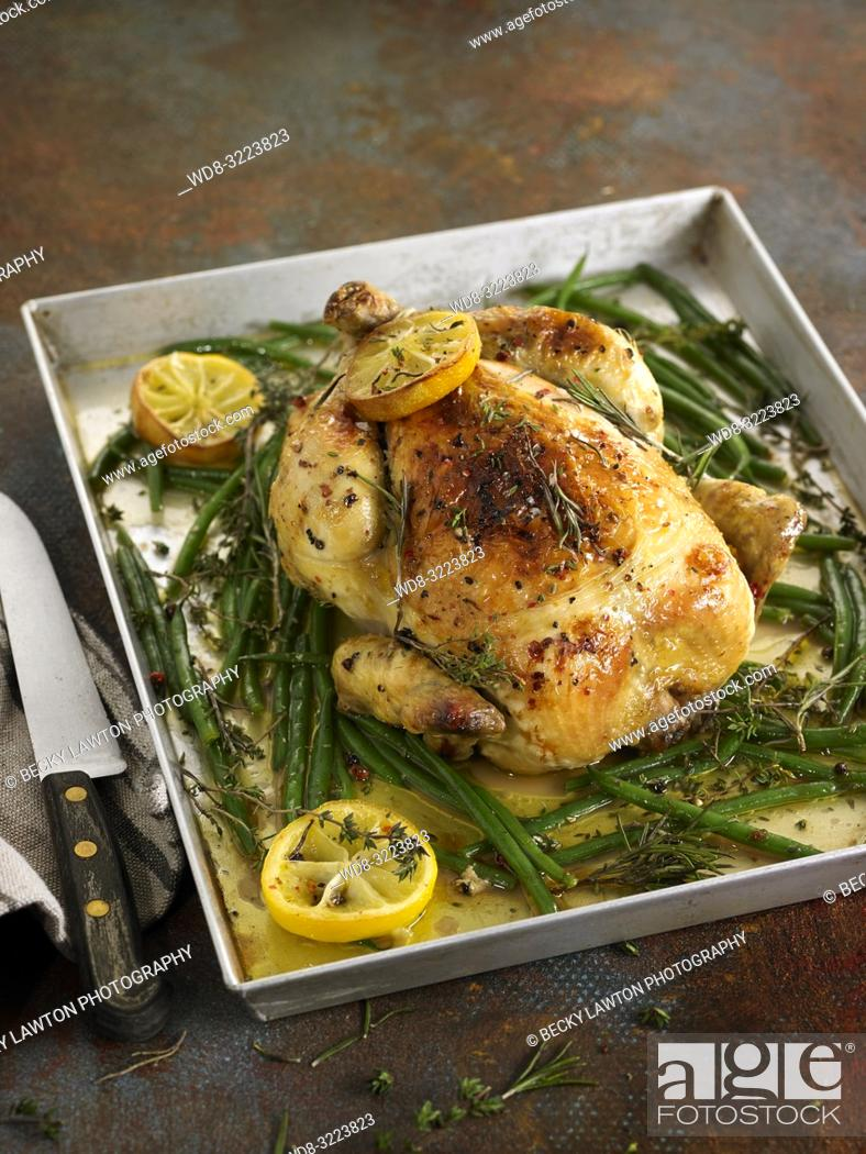 Stock Photo: pollo al limon con judias / Lemon chicken with beans.