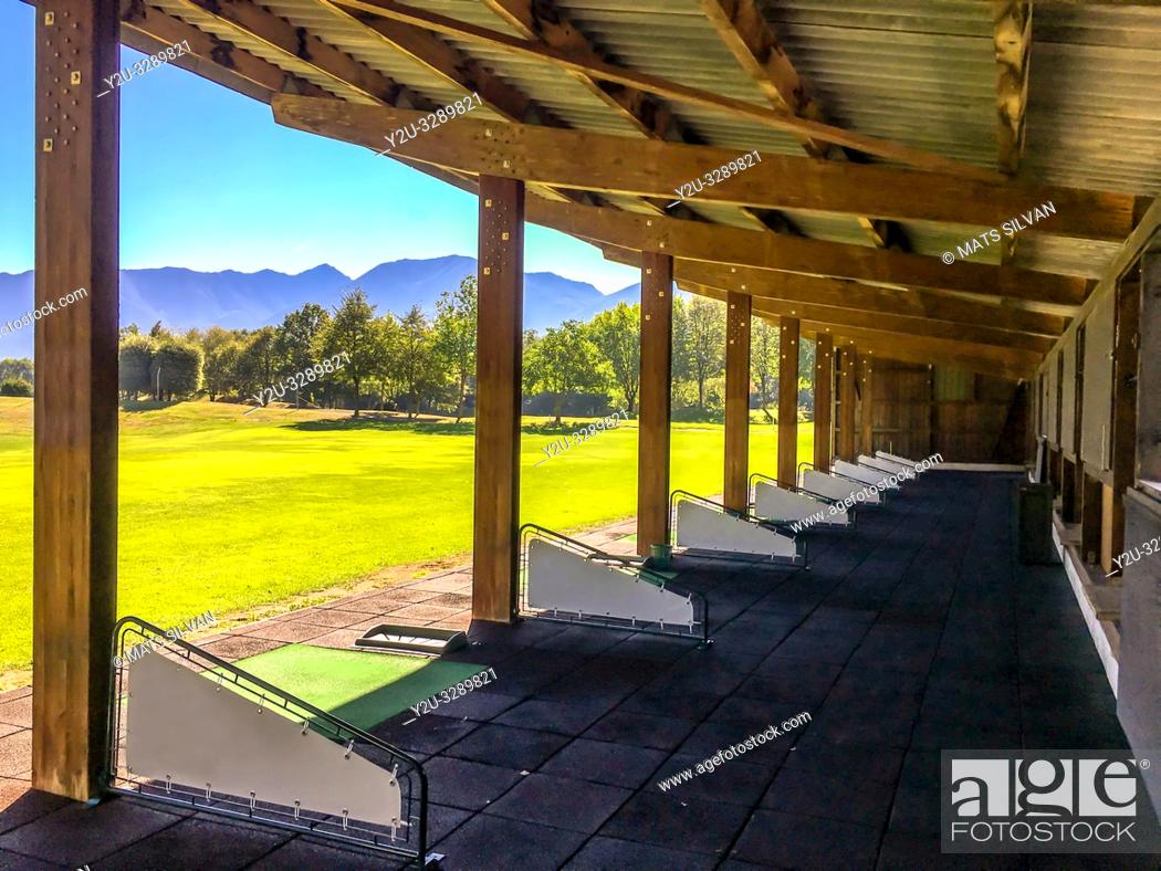 Stock Photo: Golf Driving Range in Losone, Switzerland.
