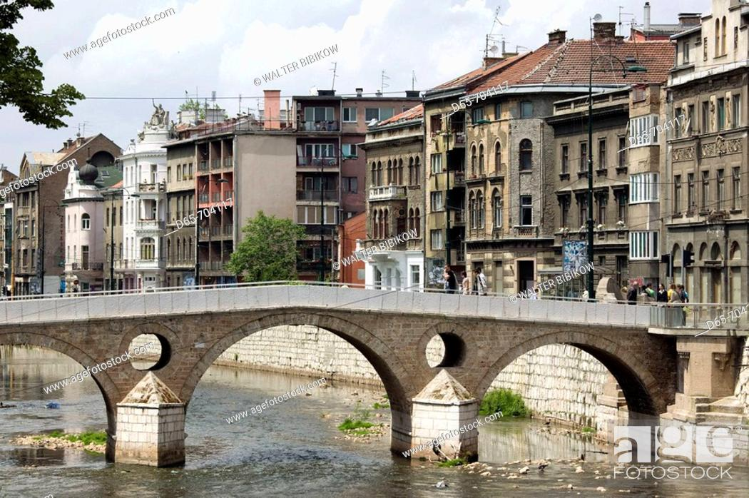 Stock Photo: Latin Bridge over the Miljacka River. Here in 1914 the assasination of Austrian Archduke Ferdinand by Serbian Nationalist Gavrilo Princip started WW1.