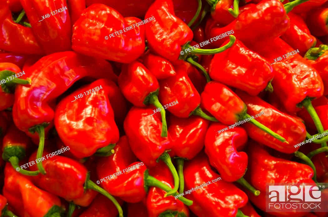 Stock Photo: Red peppers at La Boqueria market hall central Barcelona Catalunya Spain Europe.