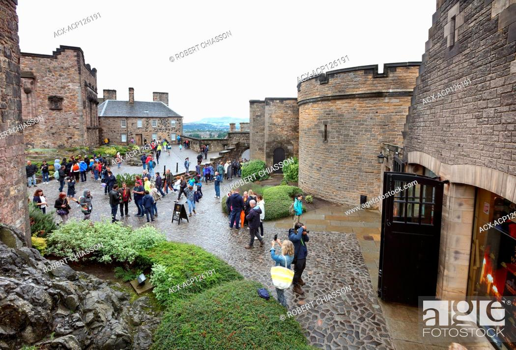 Stock Photo: Upper ward of Edinburgh Castle that encompasses the Scottish National War Memorial (left), Foog's Gate (centre) and the Reservoirs (right).