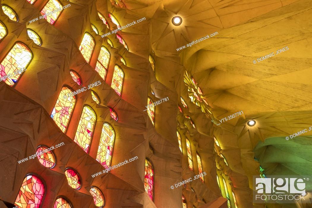 Stock Photo: Inside Barcelonaâ. . s Sagrada Família.