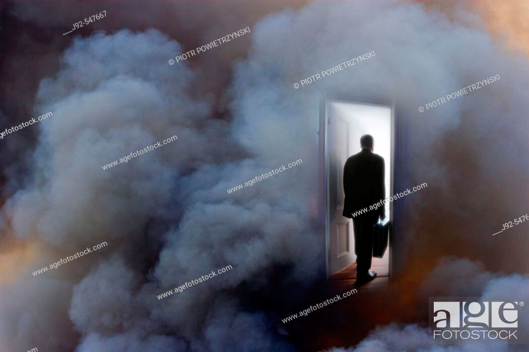Stock Photo: Business person with briefcase entering door, rear view (Composite).