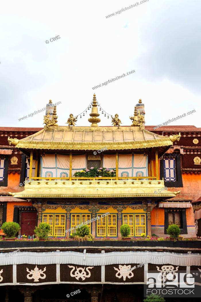 Stock Photo: Lhasa, Tibet - the view of the Golden Roof of Jokhang Temple, the holy temple in Lhasa in the daytime.