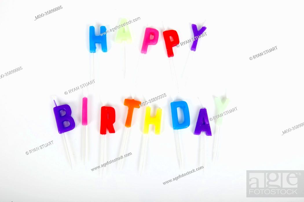 Stock Photo: Birthday candles against white background.