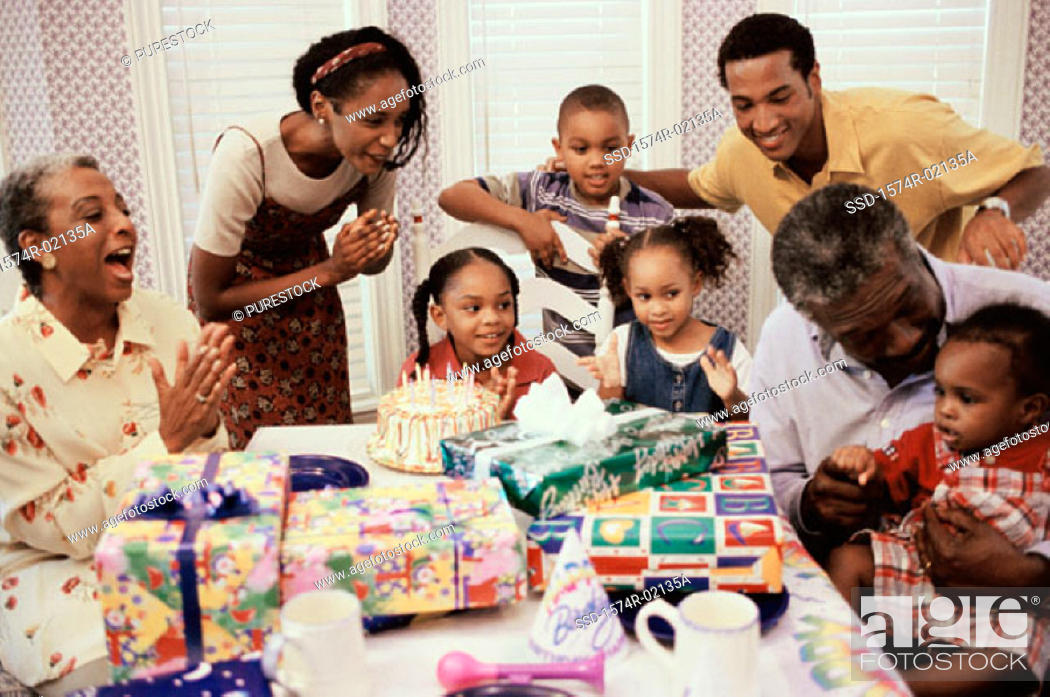 Stock Photo: Family celebrating a birthday party.