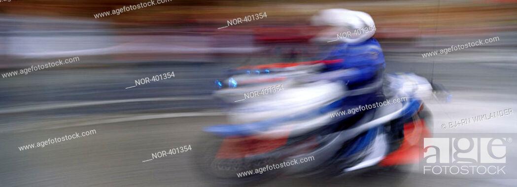 Stock Photo: Policeman on a motor cycle.