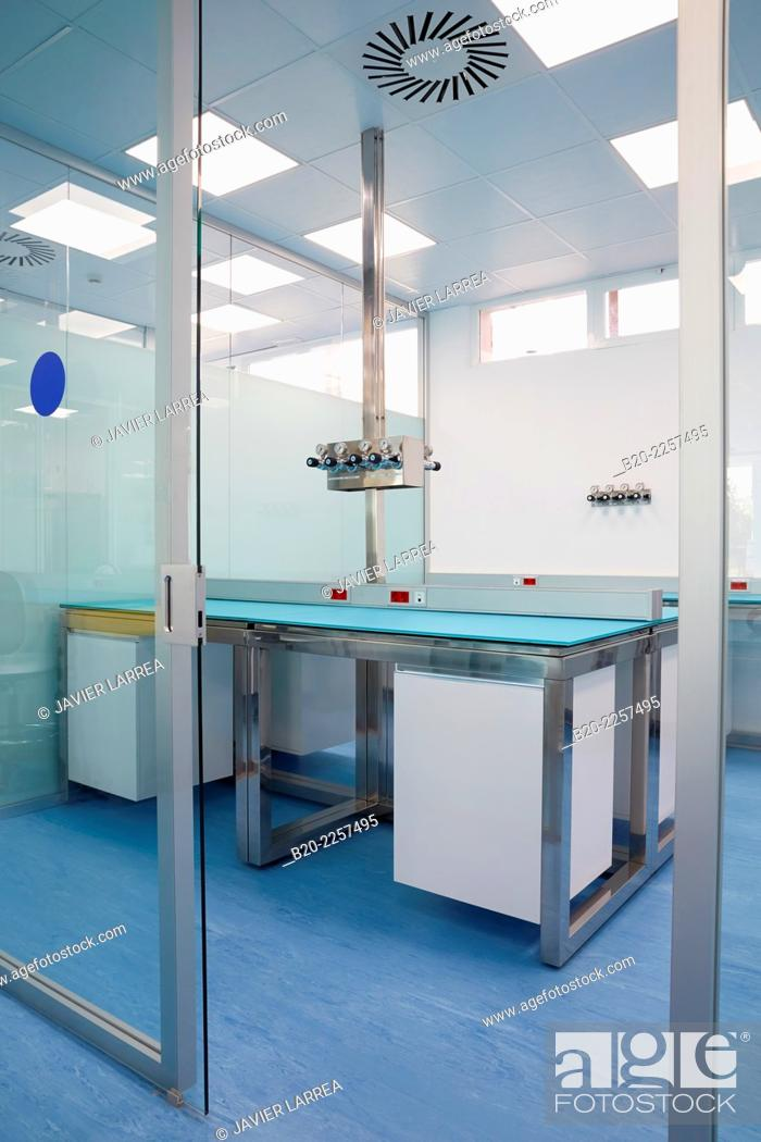 Stock Photo: Bio pharmaceutical laboratory. Empty chemical laboratory. Barcelona. Spain.
