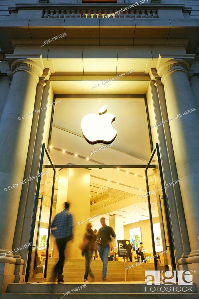 Stock Photo: Apple store entrance in Catalonia Square, Barcelona, Catalonia, Spain.