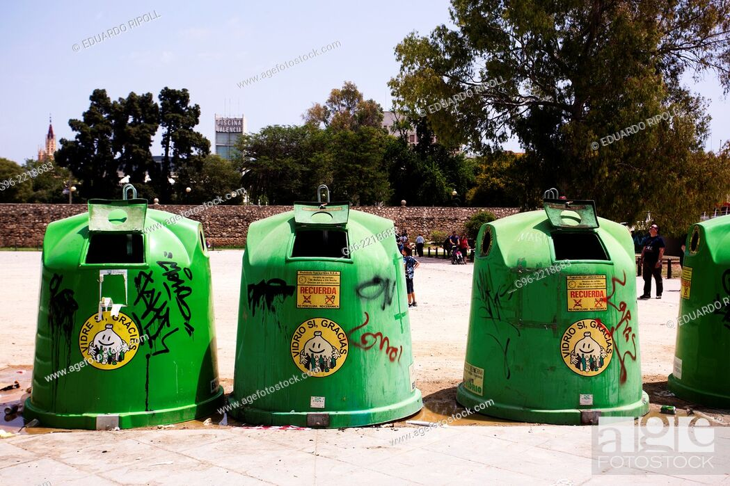 Stock Photo: Containers for recycling glass.