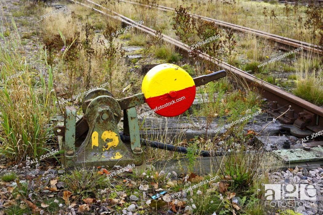 Stock Photo: Old colorful switch on the abolish railway station area in Strömsnäsbruk, Småland, South Sweden, Europe.