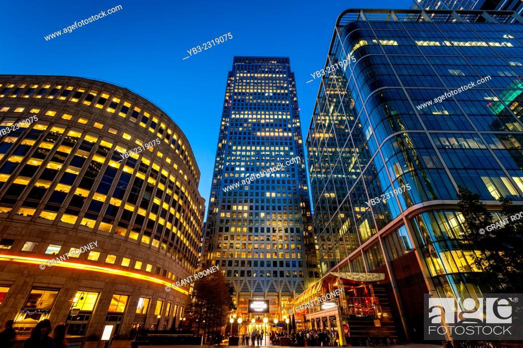 Stock Photo: Canary Wharf Financial District, London, England.