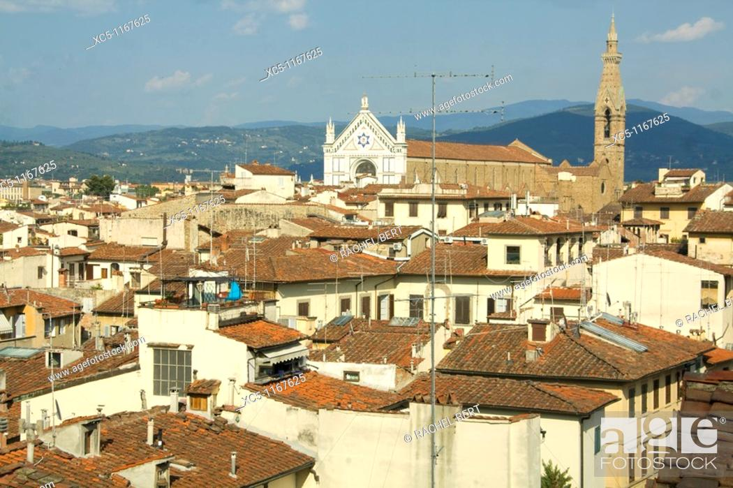 Stock Photo: Florence and Basilica di Santa Croce, aerial view from Palazzo Vecchio (Town Hall), Florence, Tuscany, Italy.