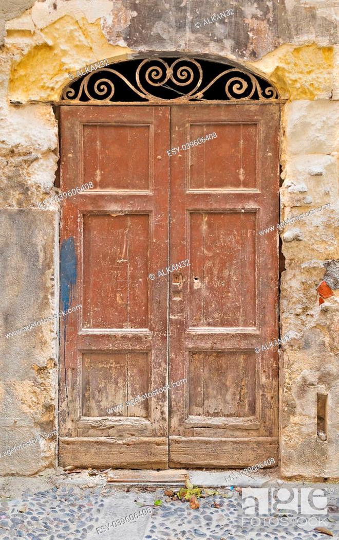 Stock Photo: old door in Sassari old town.