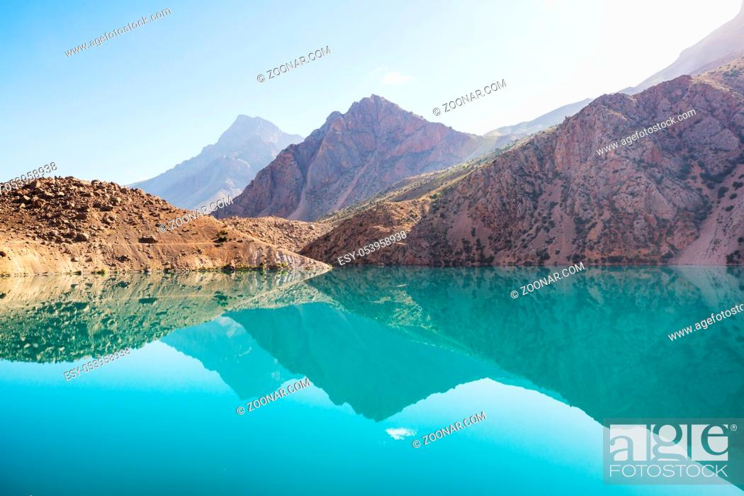 Stock Photo: Beautiful serene lake in Fann mountains (branch of Pamir) in Tajikistan.