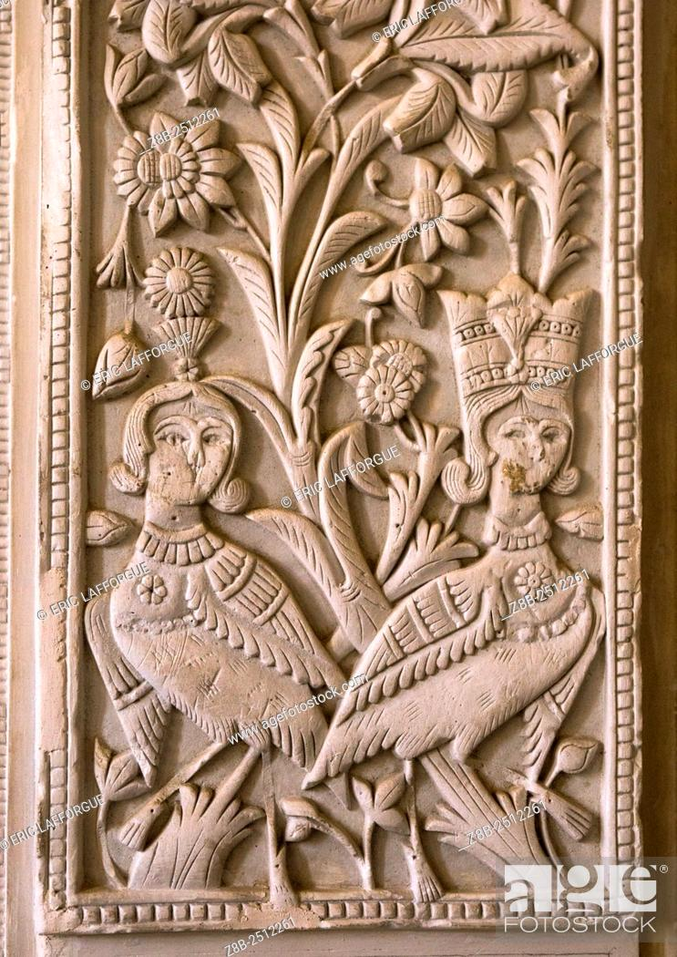 Stock Photo: Iran, Isfahan Province, Kashan, plasterwork from a wall from the courtyard of the house in the boroujerdi house.