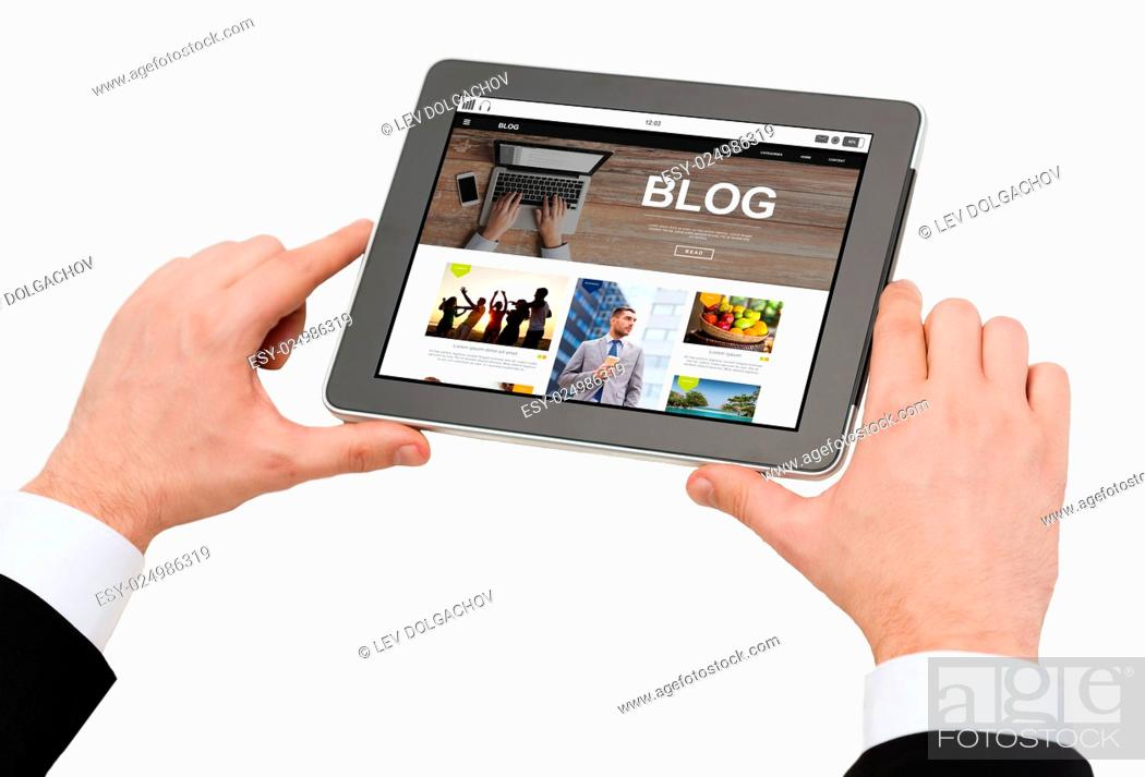 Stock Photo: business, blogging, internet and technology concept - close up of man hands holding tablet pc computer with internet blog page on screen.