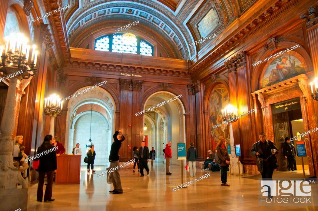 Stock Photo: McGraw Rotunda in New York Public Library Main branch in New York City.