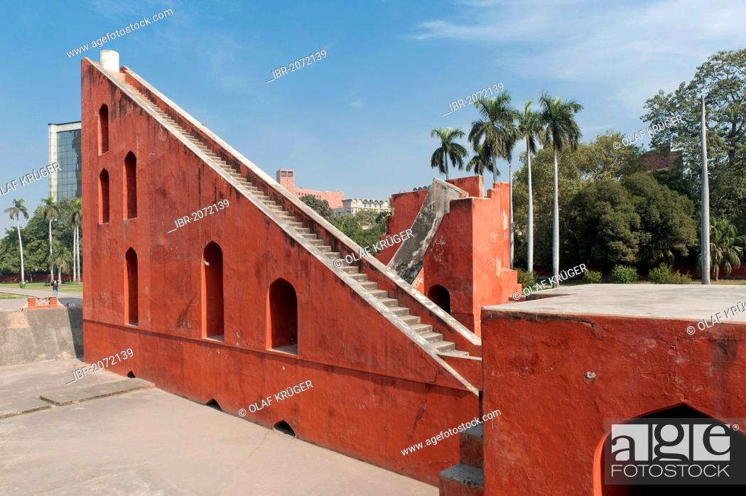 Stock Photo: Jantar Mantar observatory, office building, Connaught Place, Delhi, New Delhi, North India, India, Asia.