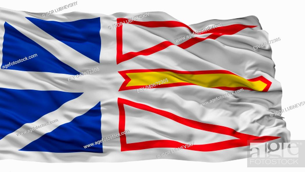 Imagen: Newfoundland And Labrador City Flag, Country Canada, Isolated On White Background.