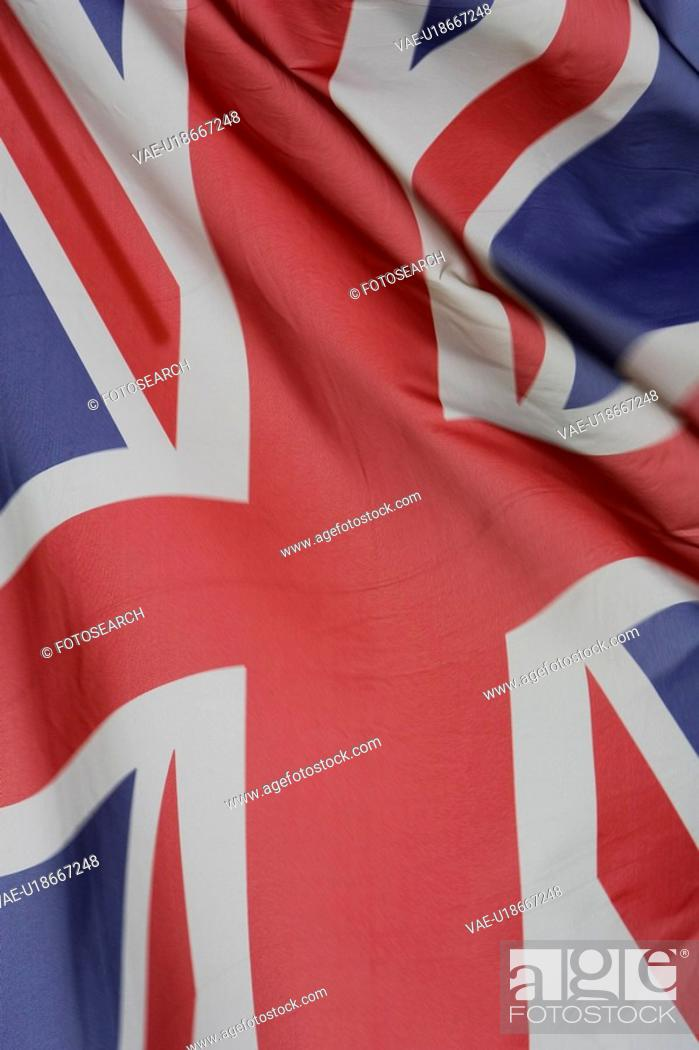 Stock Photo: British Flag, Close-Up, Fabric, Flag, Folded.