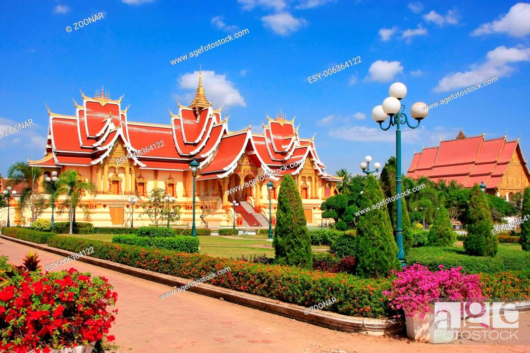 Stock Photo: Temple at Pha That Luang complex, Vientiane, Laos,.