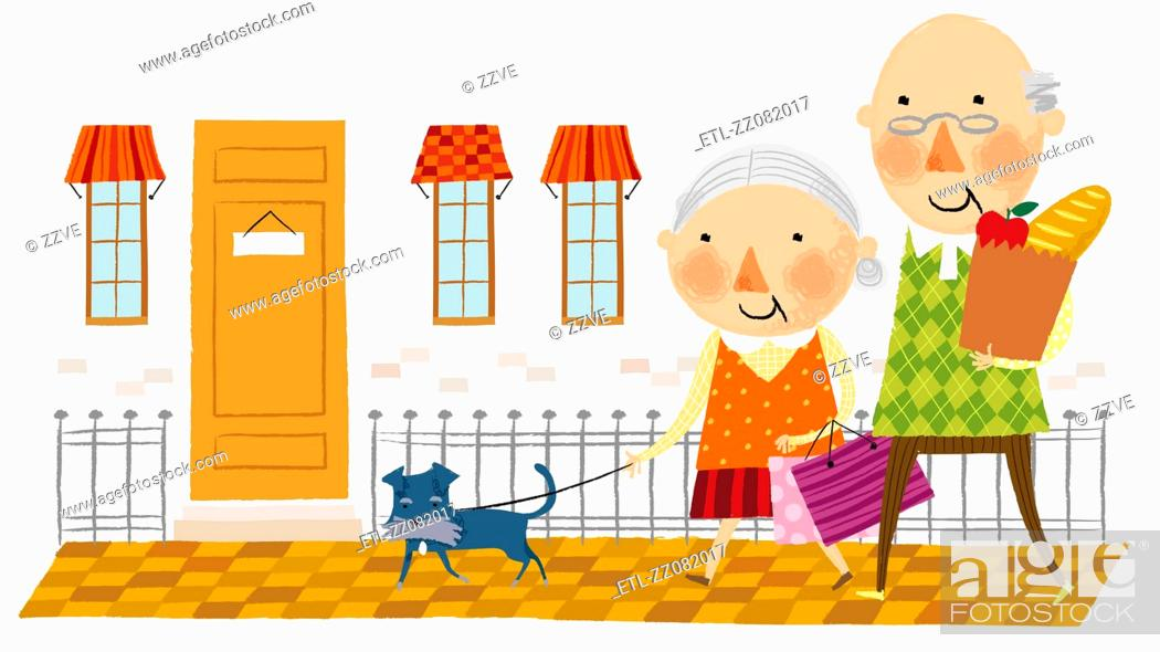 Stock Photo: Elderly couple arriving home from shopping.