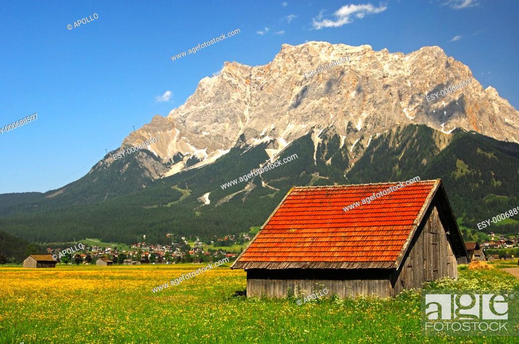 Stock Photo: Mt  Zugspitze, Wetterstein mountain range, Ehrwald, Tyrol, Austria.